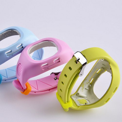 Rubber to plastic frame bonding watch band